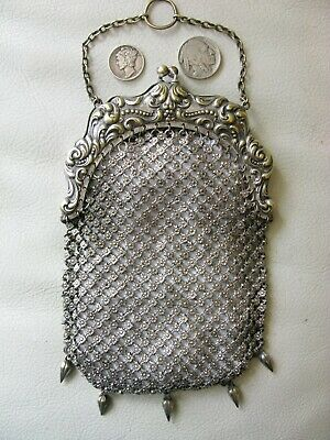 Antique Art Nouveau Silver T 5 Drop Chatelaine Fancy Tile Chain Mail Kilt Purse