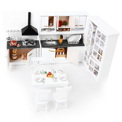 Miniature Furniture Kit for 1/12 Dolls House Kitchen Dining Rooms Accessory