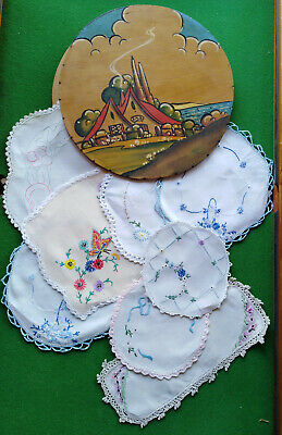 Vintage Hand Painted Wood Doiley Holder-Lot 8 Hand Embroidered Doileys