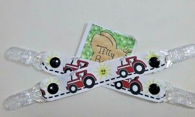 pair mitten clips glove savers child red tractor farm like massy gift for kids