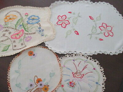 Vintage Retro Four Doilies Hand Embroidered. Floral, Crinoline Lady, Baskets.