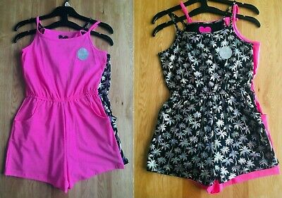 New Girls 2 Pack Strappy Pink Palm Cotton Summer Holiday Beach Shorts Playsuits