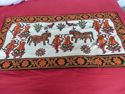 """Beautiful Embroidered /Crewel panel 36 x16""""  Indian/Aztec/Mexican Very Colourful"""