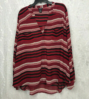 Torrid red black striped semi sheer tunic blouse top bubble sleeves 3 plus size
