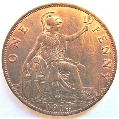 1914 Great Britain George V Subdued Orange Penny  Uncirculated.