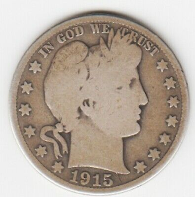 1915-S   Barber Half Dollar    90 % Silver   G-Vg Condition    Free Shipping!