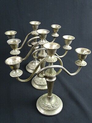 3 old English Silver plated matched 3 Arm Candelabras Candle Holders England