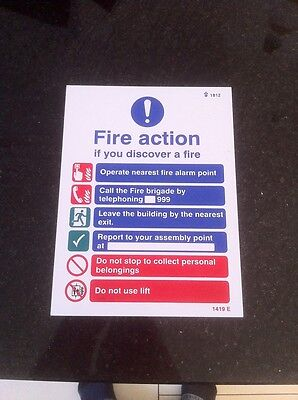 Fire Action Sign 200 x 150
