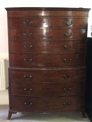 Antique Bow Fronted 18c Mahogany  Chest On Chest oak lined drawers tallboy