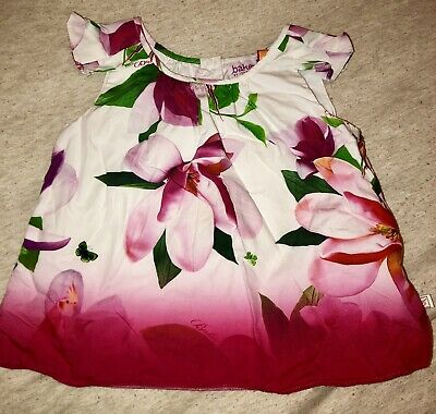 Ted Baker Baby Girls White Pink Floral Summer Short Sleeve Top Blouse 6-9 Months