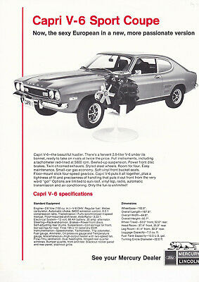 Ford Lincoln-Mercury Capri V-6 Sport Coupe, Single Sided Leaflet.