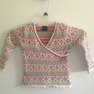 7d2a40abe07 THE CHILDRENS PLACE Girls Sweater Sz 4T Long Sleeve Red White Nordic ...