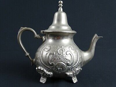 Antique Hand Beaten Moroccan Teapot hand Hammered Silver plate Marks to base