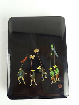 Vintage Japanese Black Lacquer Ware Stationary Box with mark Japan late 20thC