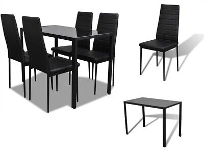 5-piece Dining Set with Table and 4 Chairs Black Comfortable and Easy to Clean