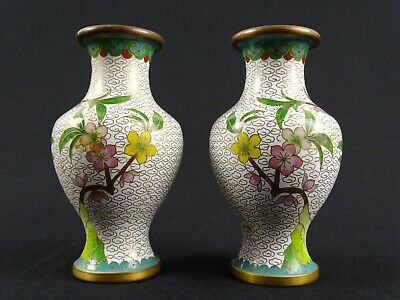 Matched Pair Fine Chinese  White ground Cloisonne  Vase  China c1970s