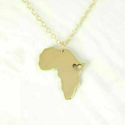 """Africa Map with Heart Pendant Silver or Gold Coloured Necklace Chain 18"""" / 46cm"""