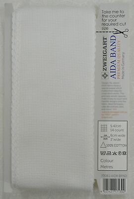 Zweigart Aida Band 14 Count 8cm Wide, Premium Quality Per Metre