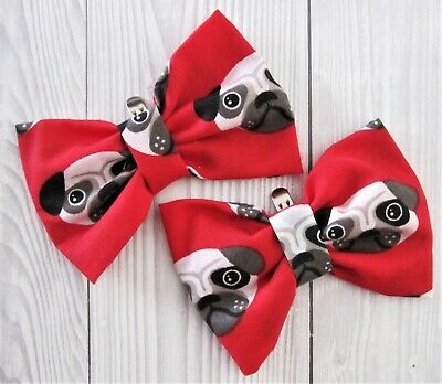 Pair Large Pug Dog Print Red Fabric Shoe Bow Clips Accessories Vintage Style Fun