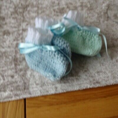 Hand Knitted Baby Boy's Bootees Newborn size