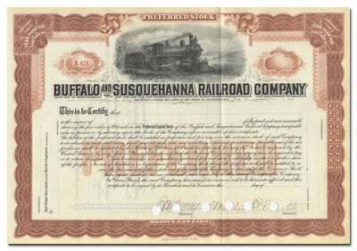 Buffalo and Susquehanna Railroad Company Stock Certificate