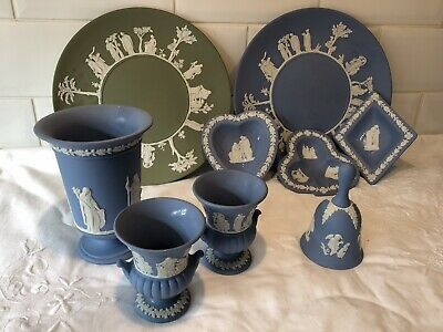 Collection 9 pieces Wedgwood Jasper ware blue Vases, boxes, trays,plates, Old