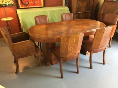 Art Deco Burr &  figured walnut Dining table and chairs c 1930