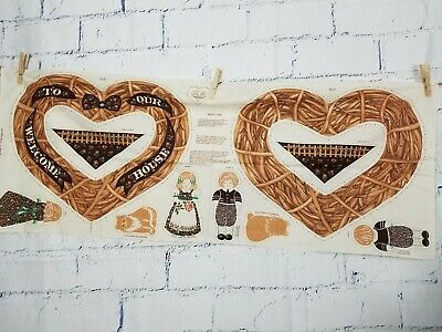 Vintage Springs Industries Cut & Sew Welcome Wreath & Dolls Fabric Panel Calico
