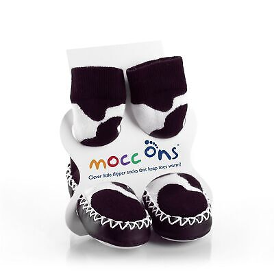 Mocc Ons Moccasin Slipper Socks Keeping Little Toes Warm! - Cow Print