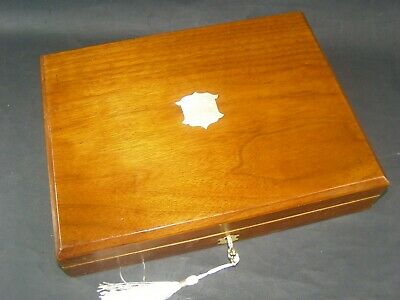 Antique Mahogany Document Box Working Lock & Key c1890 Original Brass Center