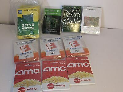 Lot of 100 Gift Cards AMC XBOX GAME NORDSTROM FANDANGO BARNES & NOBLE NO BALANCE