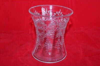 VICTORIAN LATE 19th C FLORAL ACID ETCHED GLASS WAISTED  VASE