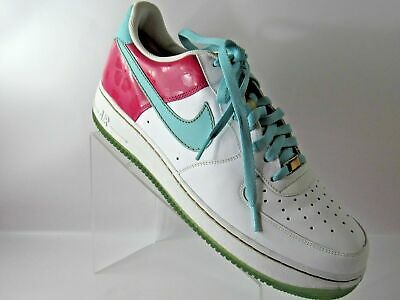 283d253969ed Nike Air Force 1 315122-141 Size 13 M WHITE AQUA PINK GOLD Sneakers Mens