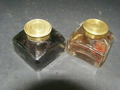 Two Antique Glass Inkwells Brass Screw Lids c1870 No Chips Or Cracks