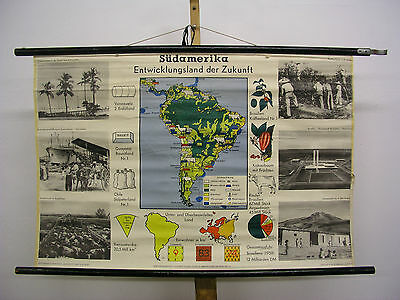 Schulwandkarte Wall Map Map America South America 39x26in South America 1958