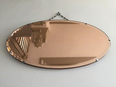 Rare Vintage Peach Tinted Frameless Bevelled Wall Mirror 1940s Oval 55x32cm m179