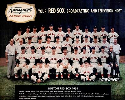 MLB 1959 Boston Red Sox Team Picture Color Narragansett Beer 8 X 10 Photo Pic