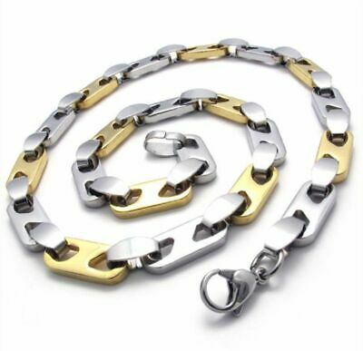 "316L Stainless steel Silver and Gold Width 8mm ""日"" Shap design chain necklace"