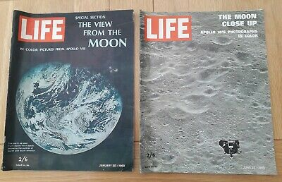 Bundle of 2 LIFE Magazines The Moon Close Up & View From the Moon Apollo 1969