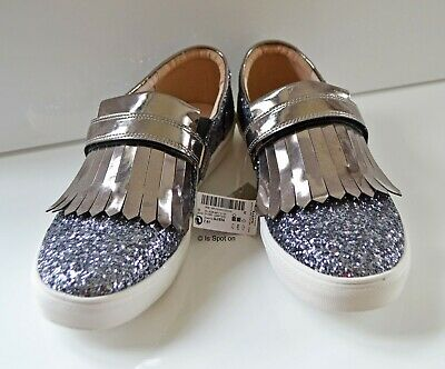 NEXT Girls Silver Glitter Loafer Style Pumps Trainers, UK 7 EUR 41, BNWT
