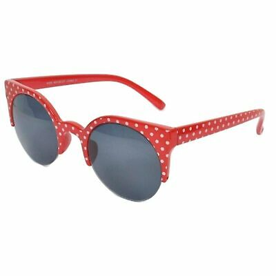 NEW PINK POLKA DOT CAT EYE 1//2 FRAME SUNGLASSES PARTY HOLIDAY FESTIVAL 50s 90s