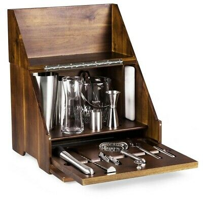 Madison Wooden Tabletop Bar Tool Set - 20 Pieces - Cocktail Shaker Opener