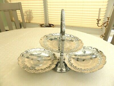 Vintage 3 Tier Silver Plated Floral Patterned Folding Cake Stand  1440621/627