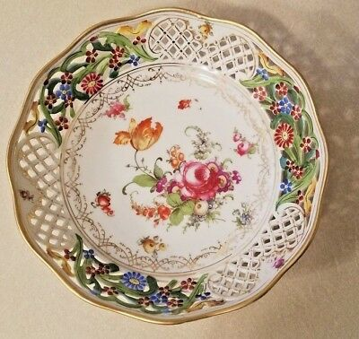 "Schumann Bavaria Dresden Flowers Reticulated 8"" Scalloped Bowl"