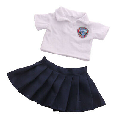 2Pcs Fashion Handmade Doll School Uniform Set for 18inch Girl Doll Accs