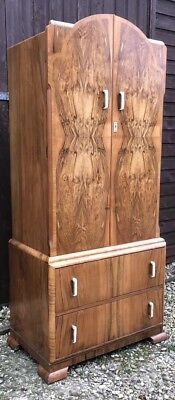 Superb Walnut Art Deco Tallboy Child`s Wardrobe/Cabinet Amazing Veneers