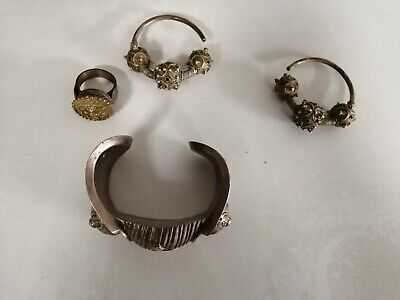 Antique vintage byzantine ottoman bracelet ring and earrings full set