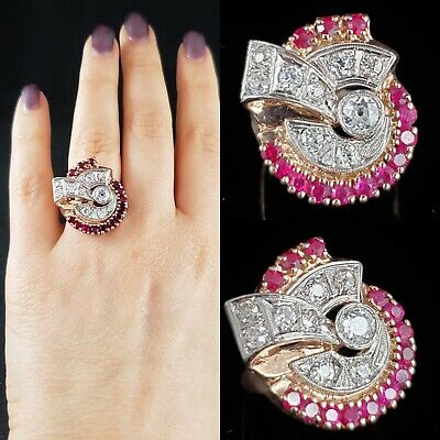 Retro Old European Cut Diamonds Synth Ruby 14k Rose Gold Cocktail Ring c.1940s