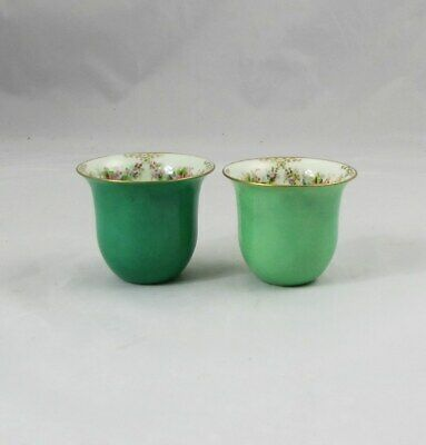 2 Antique Lenox Hand Painted Demitasse Cup Inserts for Sterling Cup Frames