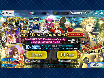 NA FGO / Fate Grand Order Fresh Starter Account + 555 SQ 🌟 36 Million QP